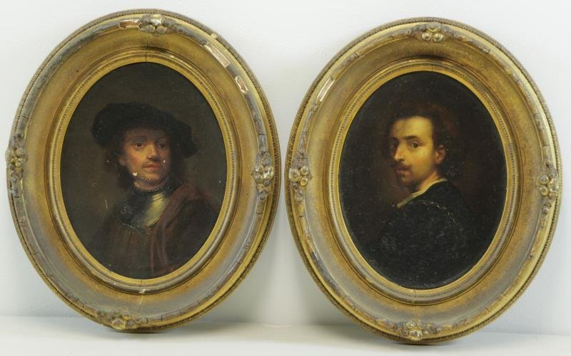 After Rembrandt. Pair of 19th C. Oil on Canvas