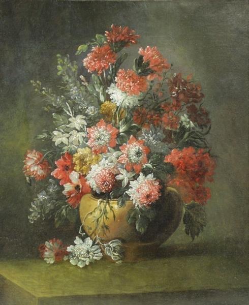 Manner of Jan De Heem. Oil on Canvas. Flowers in a