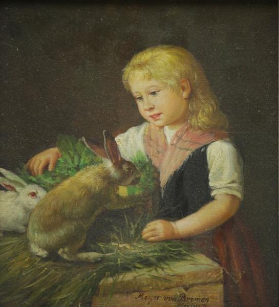 MEYER VON BREMEN, Johann G. Oil on Canvas. Young