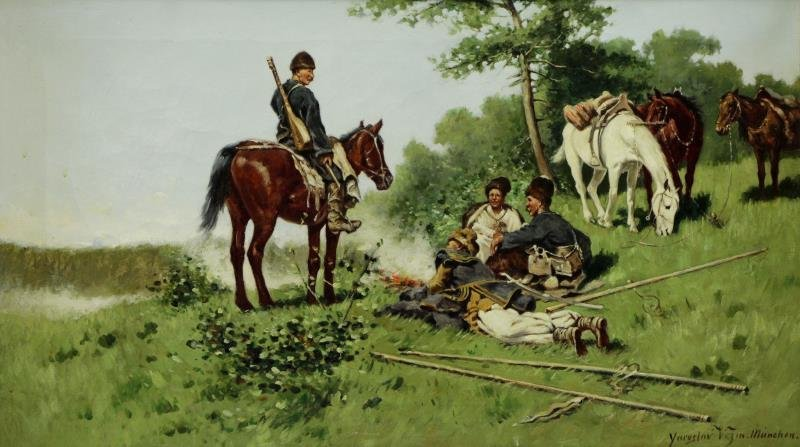 "VESIN, Jaroslav. Oil on Canvas ""Cossack Camp""."