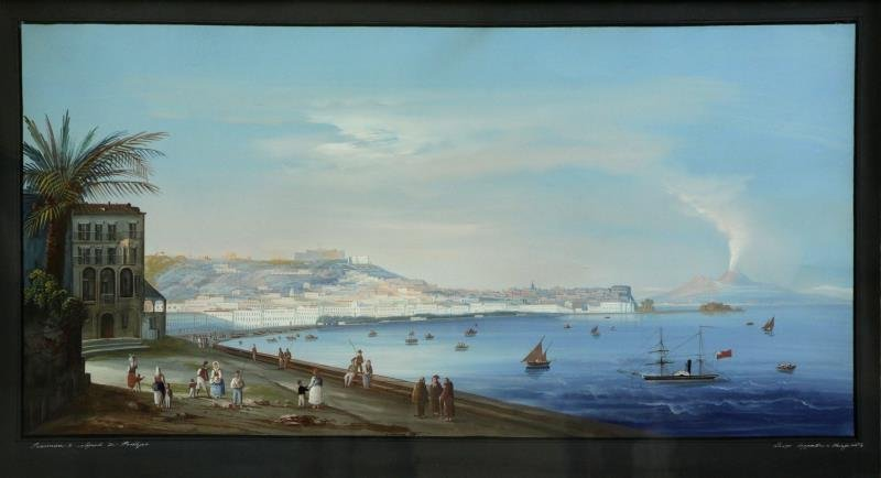 "Neapolitan School. Gouache on Paper ""Panorama di"