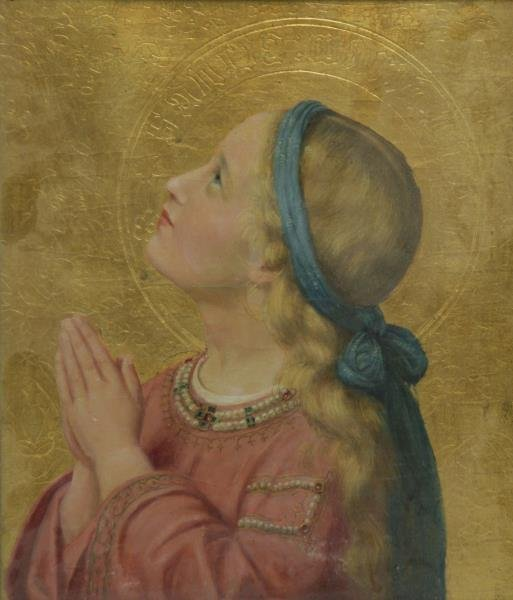 Unsigned Oil and Gold Leaf on Panel. Girl Praying.