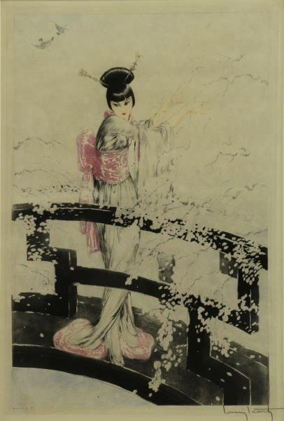 "ICART, Louis. Color Etching ""Geisha on a Bridge""."