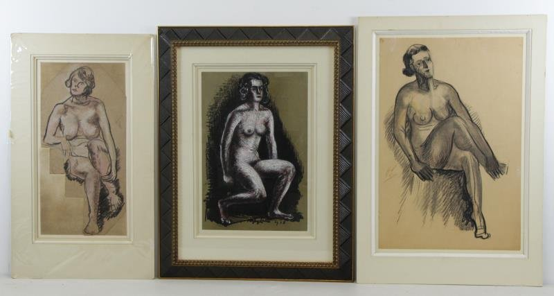 LEVER, Haley. 3 Drawings of Nudes.