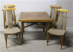 Exceptional Midcentury Brass Inlaid Game Table Set