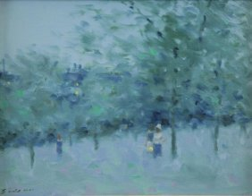 Gisson, Andre. Oil On Canvas. Figures In A Park.