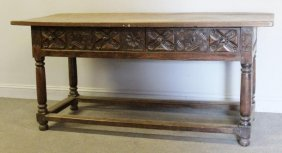 Antique Continental 2 Drawer Carved Table.