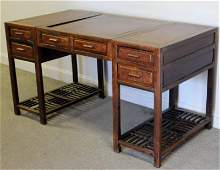3 Piece Chinese Hardwood Campaign ? Style Desk.