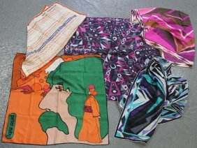 Collection Of 5 Vintage Silk Scarves.