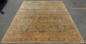 Finely Woven Handmade Antique Kirman Carpet.