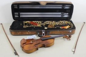 Vintage Violin And 2 Bows In Custom Case With