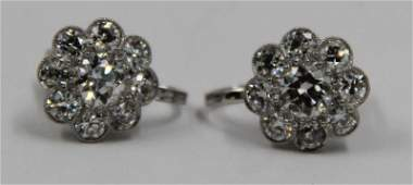 JEWELRY. Pair of Floral Form Diamond Earrings.