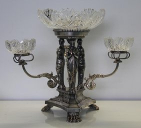Silver-plate. Figural Silverplate Epergne.