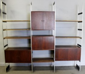 Midcentury Teak Wall Unit With Cabinets.