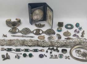 Jewelry. Assorted Silver Jewelry Grouping.