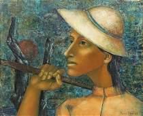 HENRY, Pierre. Oil on Canvas. Farmer, 1958.