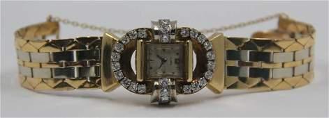 JEWELRY Retro 14kt Gold and Diamond Ladies Watch