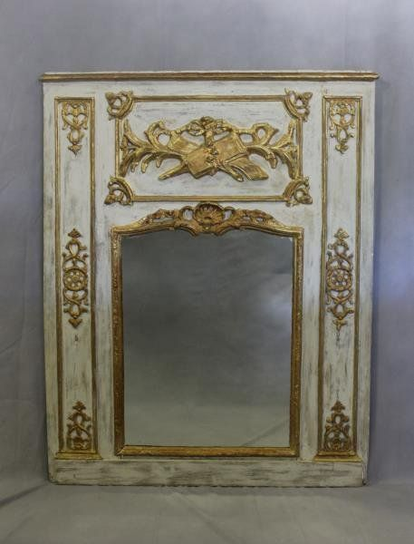 Antique French Carved And Giltwood Trumeau Mirror.