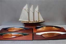 Vintage Ships Model And 4 Half Hulls