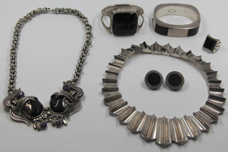 JEWELRY. Mexican Sterling Jewelry Grouping.