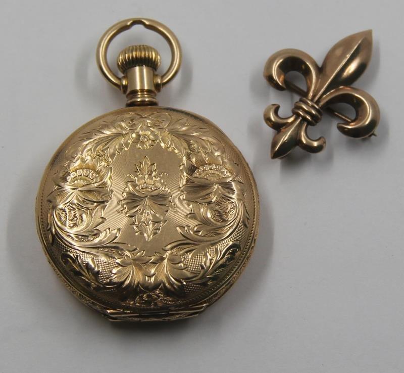 JEWELRY. 14kt Gold Waltham Ladies Pocket Watch.