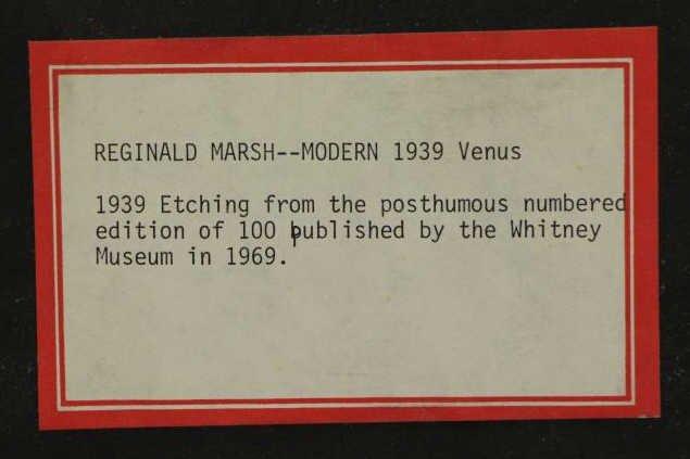 "MARSH, Reginald. Etching. ""Modern 1939 Venus"". - 5"