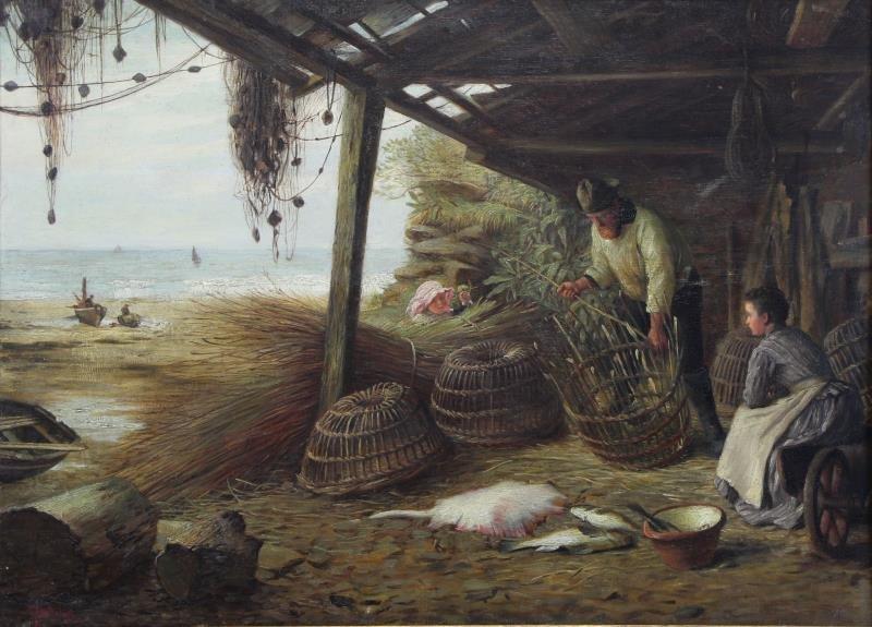 MCINTYRE, Joseph. Oil on Canvas. Basket Weaving on