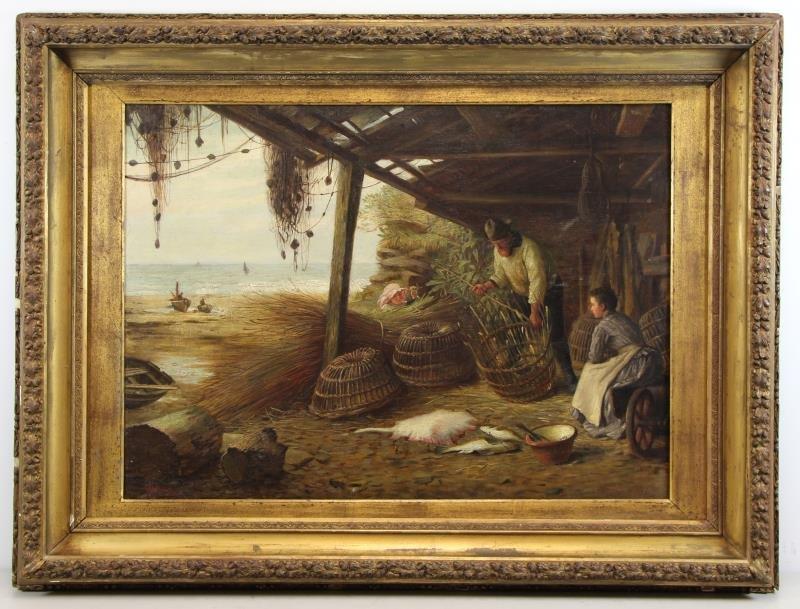 MCINTYRE, Joseph. Oil on Canvas. Basket Weaving on - 2