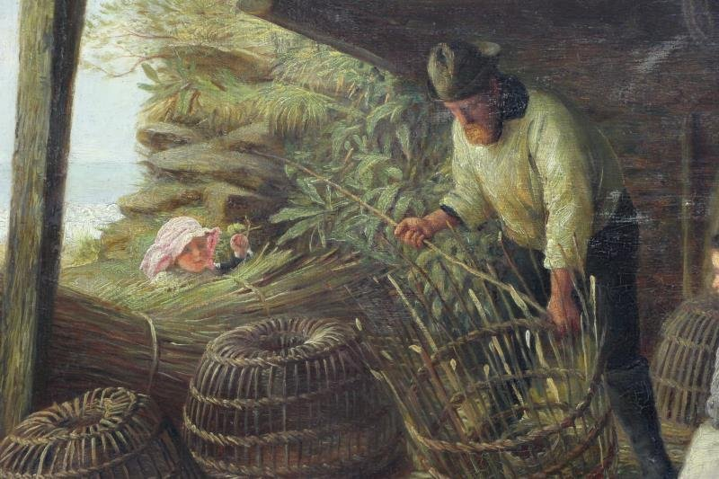 MCINTYRE, Joseph. Oil on Canvas. Basket Weaving on - 3