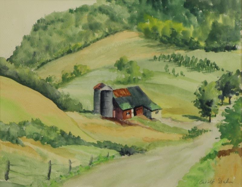 DEHN, Adolf. Watercolor Barn in Landscape.