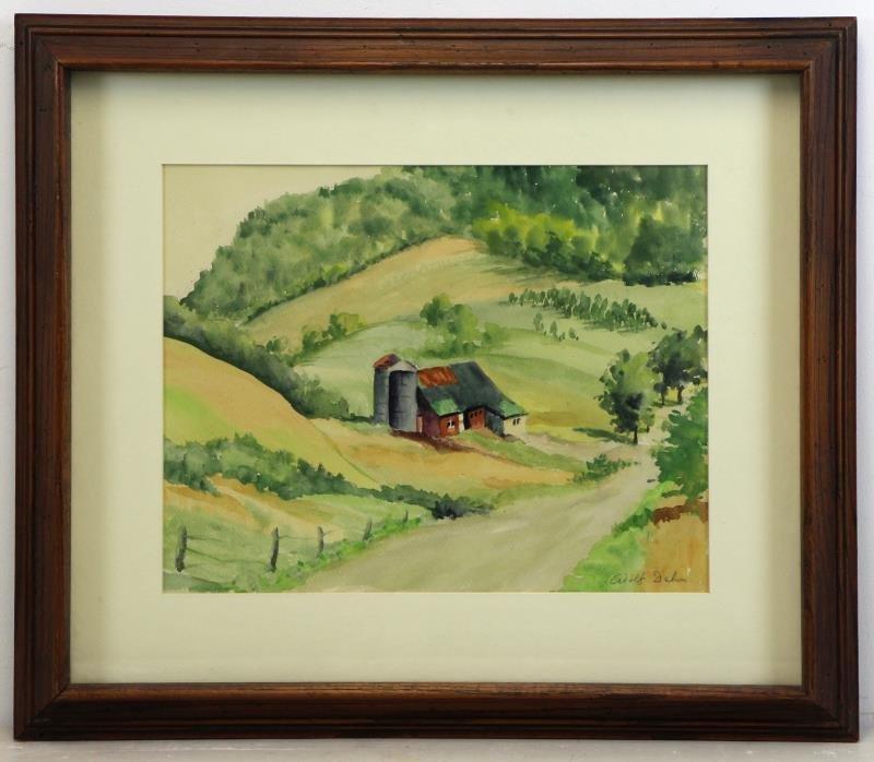 DEHN, Adolf. Watercolor Barn in Landscape. - 2