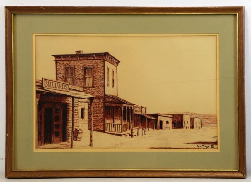 GOLLINGS, William. Chalk on Paper. Western Village - 2