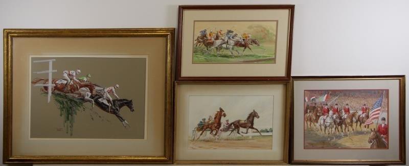 SAVITT, Sam. 4 Gouache on Paper. Horse Scenes.