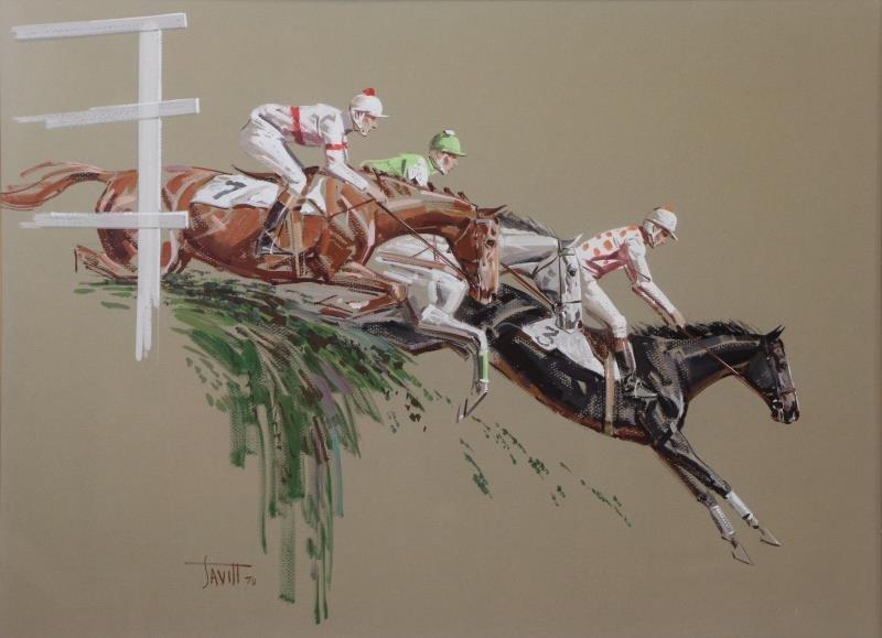 SAVITT, Sam. 4 Gouache on Paper. Horse Scenes. - 2