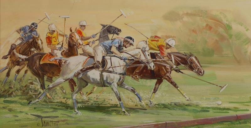 SAVITT, Sam. 4 Gouache on Paper. Horse Scenes. - 3
