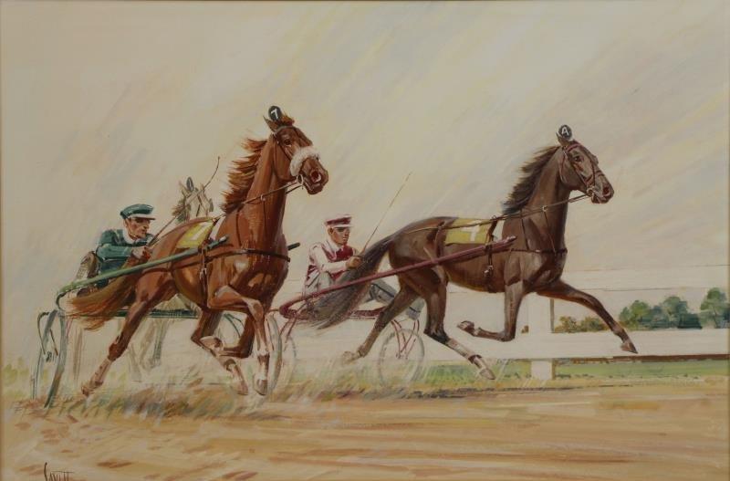SAVITT, Sam. 4 Gouache on Paper. Horse Scenes. - 4