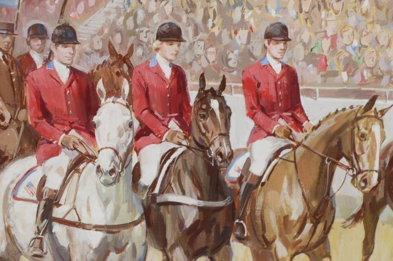 SAVITT, Sam. 4 Gouache on Paper. Horse Scenes. - 7