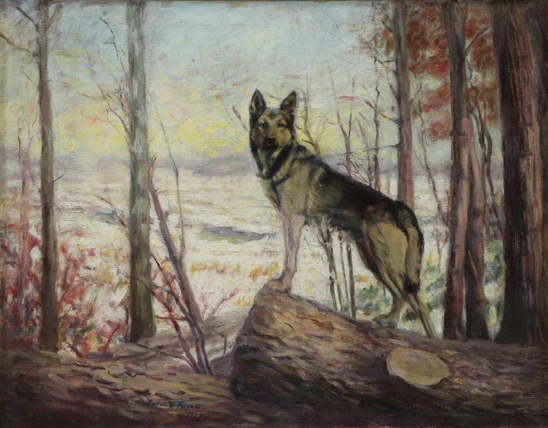 "TALCOTT, Sarah. Oil on Canvas. ""The Sentinal""."