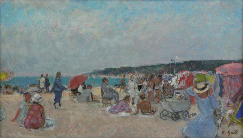 """GALL, Francois. Oil on Canvas """"Sur La Plage""""."""