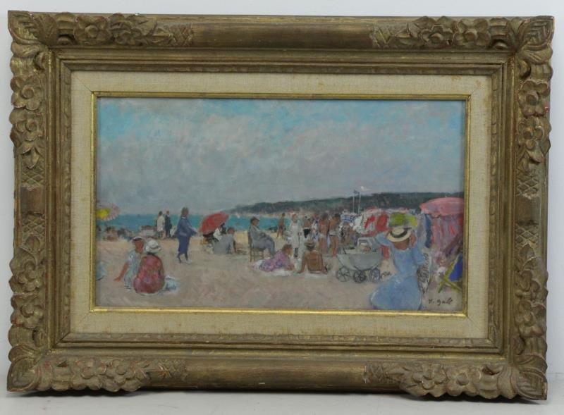 """GALL, Francois. Oil on Canvas """"Sur La Plage"""". - 2"""