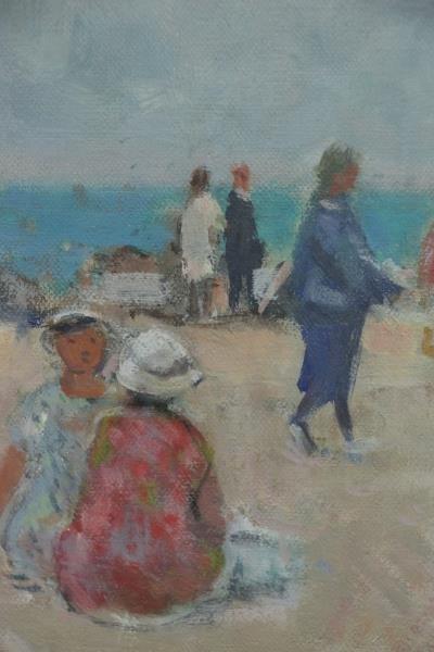 """GALL, Francois. Oil on Canvas """"Sur La Plage"""". - 5"""