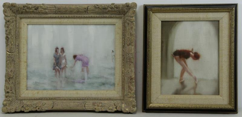 AUTORNIO, Anthony. Two Figural Oils on Canvas.