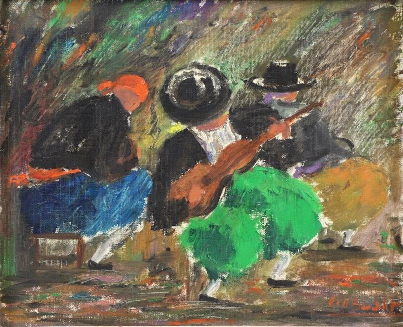 "BARDOLET, Coll Joseph. Oil on Canvas. ""Musicos"""