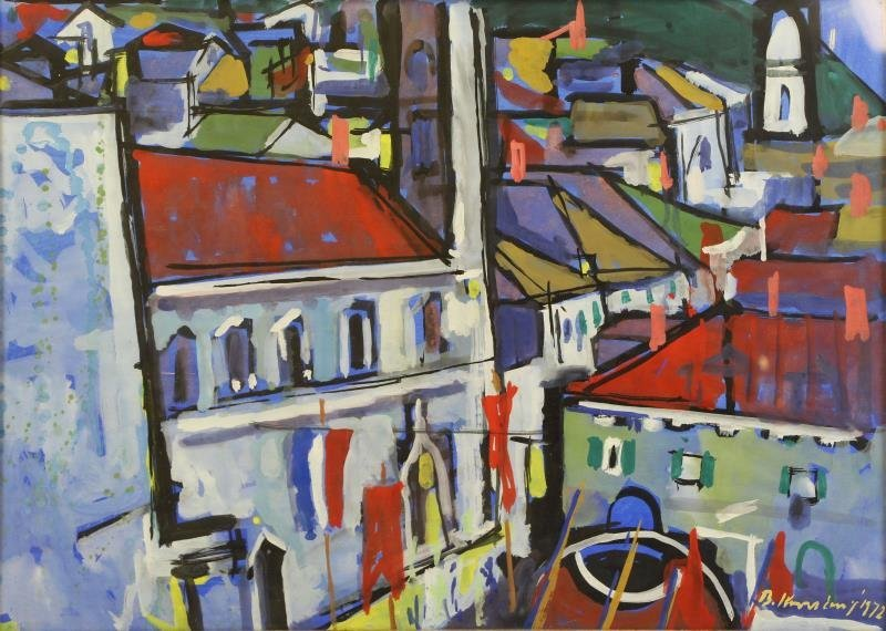 Signed 1972 Gouache on Paper French Rooftops.
