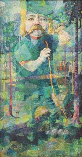 """Signed Cubist Oil on Canvas. """"Robin Hood""""."""