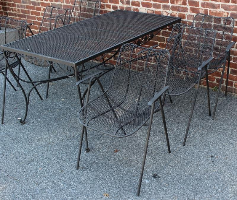 MIDCENURY , Patinated Iron Set To Inc A Table And - 2