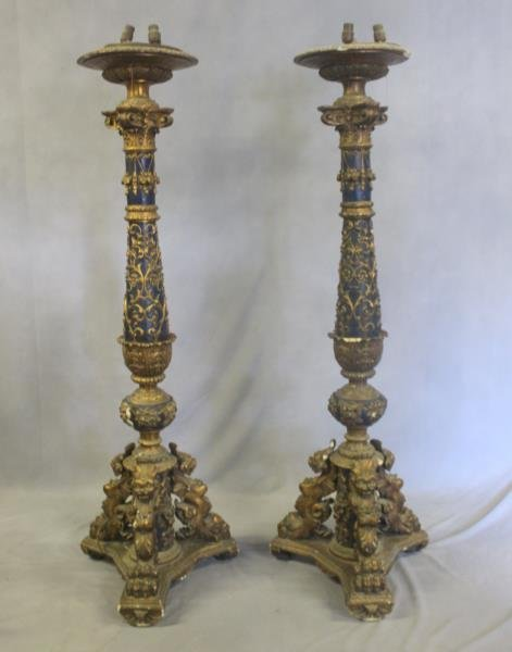 A Pair of Impressive Italian Patinated and Carved