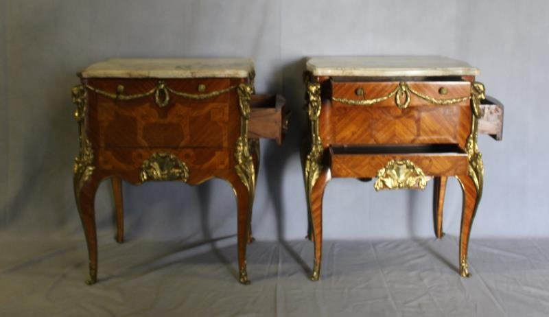 Pair of Louis XV Style Satine Marquetry and