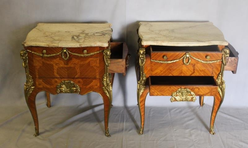 Pair of Louis XV Style Satine Marquetry and - 2