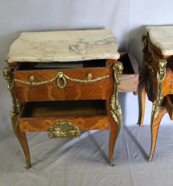 Pair of Louis XV Style Satine Marquetry and - 3